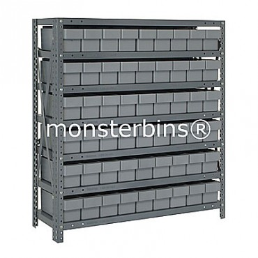Steel Shelving Unit - 7 Shelves - 54 Euro Drawers (QED604)