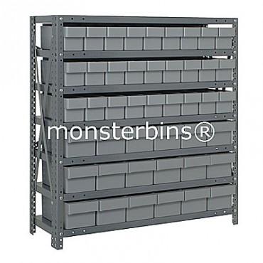 Steel Shelving Unit - 7 Shelves - 45 Euro Drawers (QED602 & QED604)