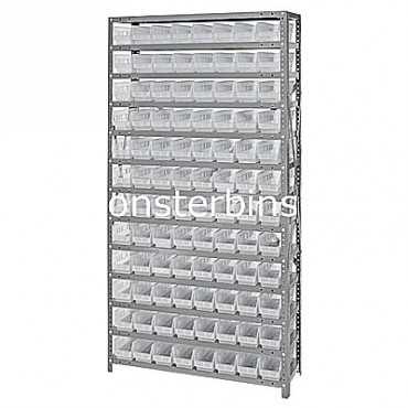 "Steel Shelving Unit - 13 Shelves - 96 Clear Shelf Bins (18""x4""x4"")"