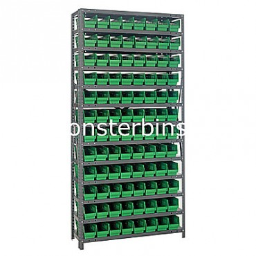 "Steel Shelving Unit - 13 Shelves - 96 Shelf Bins (18""x4""x4"")"
