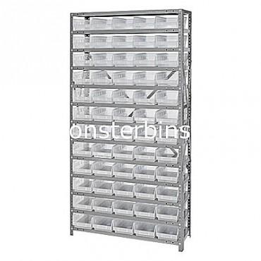 "Steel Shelving Unit - 13 Shelves - 60 Clear Shelf Bins (18""x6""x4"")"