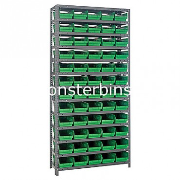 "Steel Shelving Unit - 13 Shelves - 60 Shelf Bins (18""x6""x4"")"