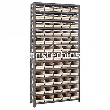 "Steel Shelving Unit - 13 Shelves - 60 Shelf Bins (18""x6""x4"")"