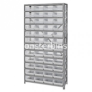 "Steel Shelving Unit - 13 Shelves - 48 Clear Shelf Bins (18""x8""x4"")"