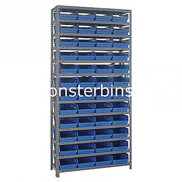 "Steel Shelving Unit - 13 Shelves - 48 Shelf Bins (18""x8""x4"")"