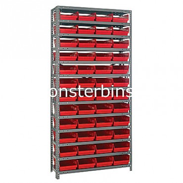 "Steel Shelving Unit - 13 Shelves - 48 Shelf Bins (18""x8""x4"")"