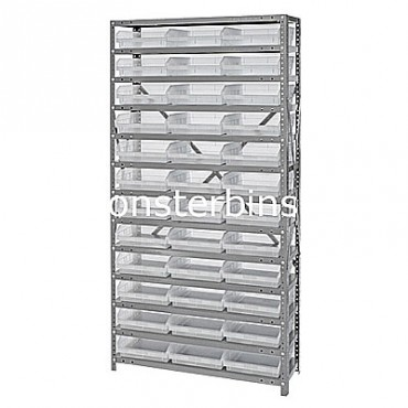 "Steel Shelving Unit - 13 Shelves - 36 Clear Shelf Bins (18""x11""x4"")"