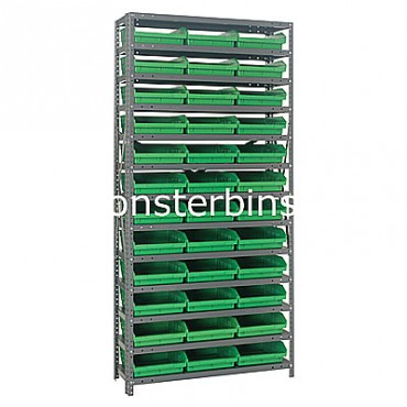 "Steel Shelving Unit - 13 Shelves - 36 Shelf Bins (18""x11""x4"")"