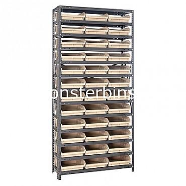 "Steel Shelving Unit - 13 Shelves - 36 Shelf Bins (18""x11""x4"")"
