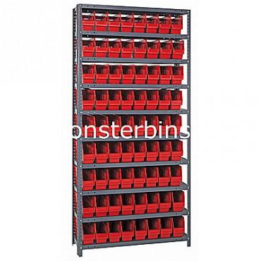 "Steel Shelving Unit - 10 Shelves - 72 Shelf Bins (18""x4""x6"")"