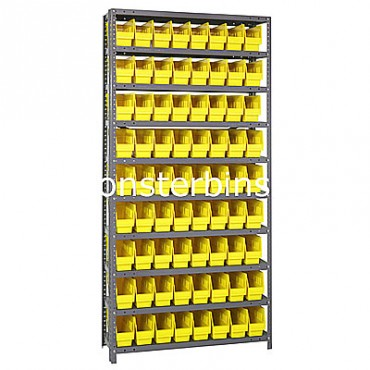"Steel Shelving Unit - 10 Shelves - 72 Shelf Bins (18""x4""x6"")"