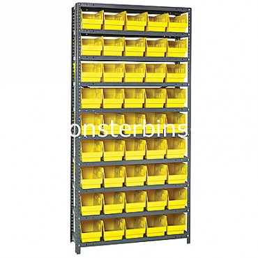 "Steel Shelving Unit - 10 Shelves - 45 Shelf Bins (18""x6""x6"")"