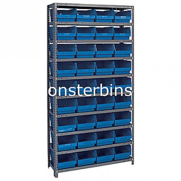 "Steel Shelving Unit - 10 Shelves - 36 Shelf Bins (18""x8""x6"")"