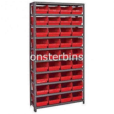 "Steel Shelving Unit - 10 Shelves - 36 Shelf Bins (18""x8""x6"")"