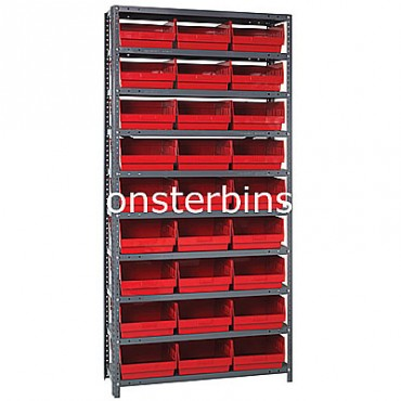 "Steel Shelving Unit - 10 Shelves - 27 Shelf Bins (18""x11""x6"")"