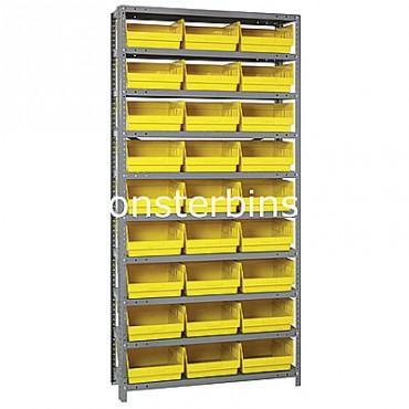 "Steel Shelving Unit - 10 Shelves - 27 Shelf Bins (18""x11""x6"")"