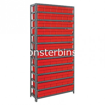 Steel Shelving Unit - 13 Shelves - 72 Euro Drawers (QED602)