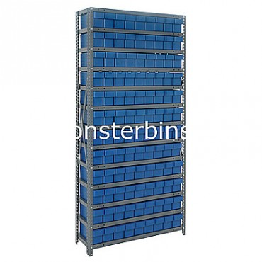 Steel Shelving Unit - 13 Shelves - 108 Euro Drawers (QED604)