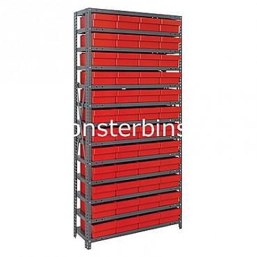 Steel Shelving Unit - 13 Shelves - 48 Euro Drawers (QED606)