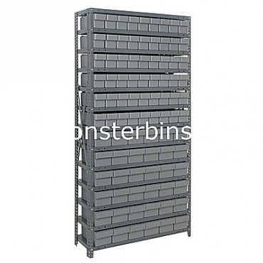 Steel Shelving Unit - 13 Shelves - 90 Euro Drawers (QED602 & QED604)