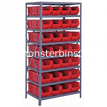 Steel Shelving Unit with 8 Shelves and 28 QUS950 Bins