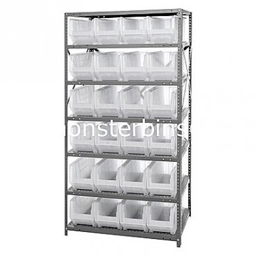 Steel Shelving Unit with 7 Shelves and 24 QUS951 Clear Bins
