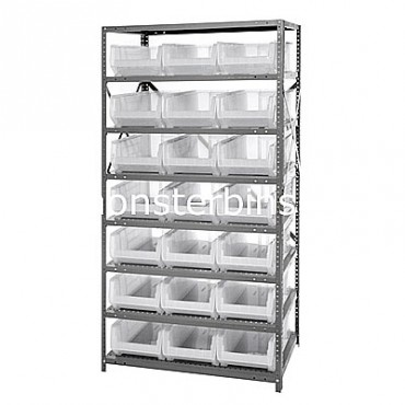 Steel Shelving Unit with 8 Shelves and 21 QUS952 Clear Bins