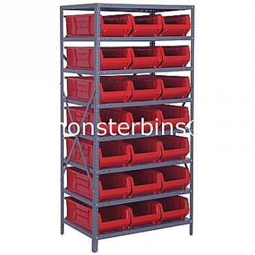Steel Shelving Unit with 8 Shelves and 21 QUS952 Bins