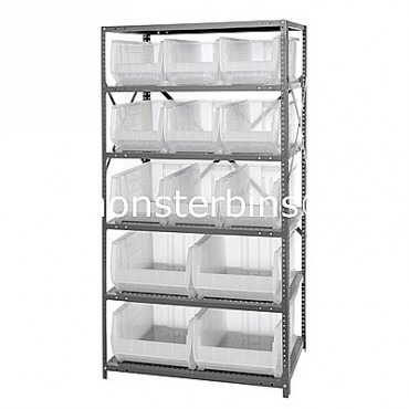 Steel Shelving Unit with 6 Shelves and 9 QUS953, 4 QUS954 Clear Bins