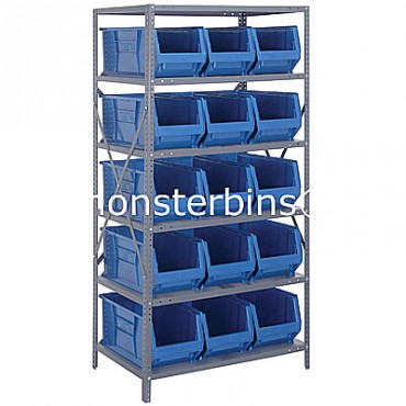Steel Shelving Unit with 6 Shelves and 15 QUS953 Bins