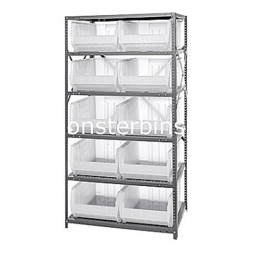 Steel Shelving Unit with 6 Shelves and 10 QUS954 Clear Bins