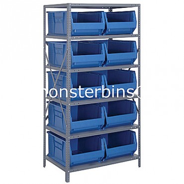 Steel Shelving Unit with 6 Shelves and 10 QUS954 Bins