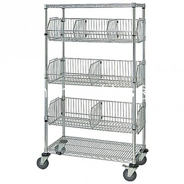 Mobile Wire Basket Shelving Unit - 2 Shelves, 3 Baskets - 24x36x69 (with attached casters)
