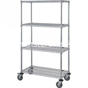 Mobile Wire Cart - 4 Wire Shelves - 18x36x69 (with casters)