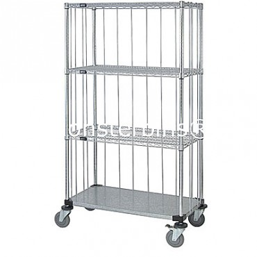 Mobile Wire Cart with Rods & Tabs - 4 Wire Shelves - 18x36x69 (with casters)