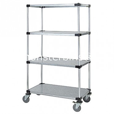 Mobile Solid Cart - 4 Solid Shelves - 18x36x69 (with casters)