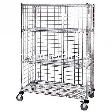 Enclosed Mobile Wire Cart - 4 Wire Shelves - 24x36x69 (with casters)