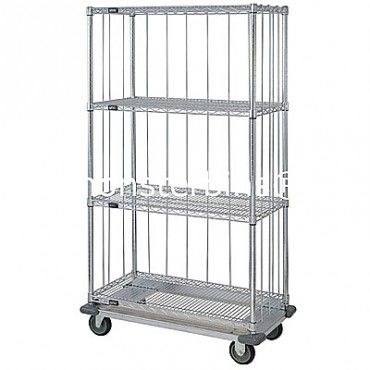 Mobile Wire Cart with Rods & Tabs and Dolly Base - 4 Wire Shelves - 18x36x69 (with casters)