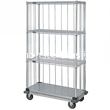 Mobile Wire Cart with Rods & Tabs - 1 Solid/3 Wire Shelves - 18x36x69 (with casters)