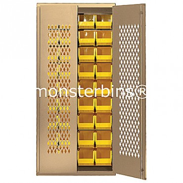 MESH-240250 Cabinet with Yellow QUS240 & QUS250 Plastic Bins