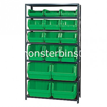 Steel Shelving Unit with 7 Shelves and 4 QMS543, 3 QMS533, 6 QMS532, 3 QMS531 Bins