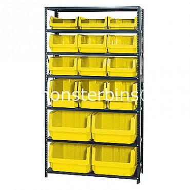 Steel Shelving Unit with 7 Shelves and 4 QMS543, 3 QMS533, 6 QMS532, 3 QMS531 Bins