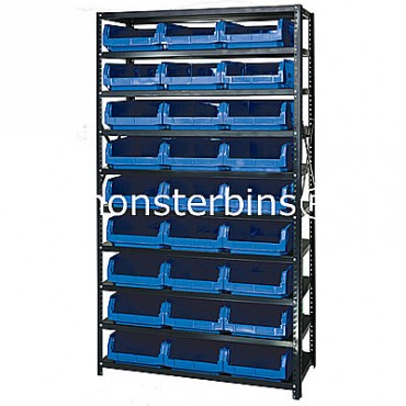 Steel Shelving Unit with 10 Shelves and 27 QMS531 Bins