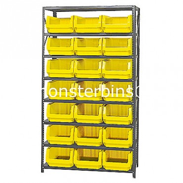 Steel Shelving Unit with 8 Shelves and 21 QMS532 Bins