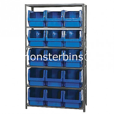 Steel Shelving Unit with 6 Shelves and 15 QMS533 Bins