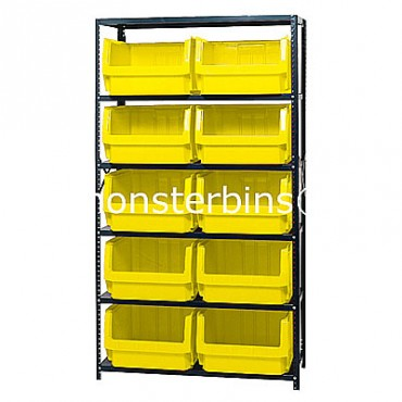 Steel Shelving Unit with 6 Shelves and 10 QMS543 Bins
