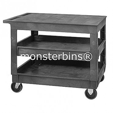 Plastic Flat Top Shelf Cart - 40x26x33 - 3 Shelves