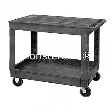 Plastic Flat Top Shelf Cart - 40x26x33 - 2 Shelves