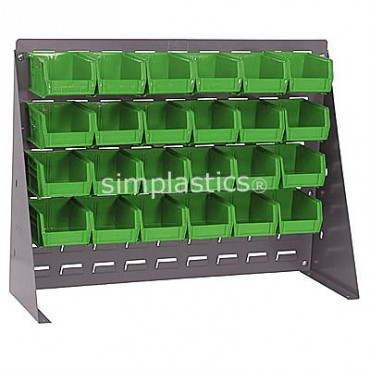 Bench Rack with 24 QUS210 Bins - Green