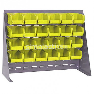 Bench Rack with 24 QUS210 Bins - Yellow